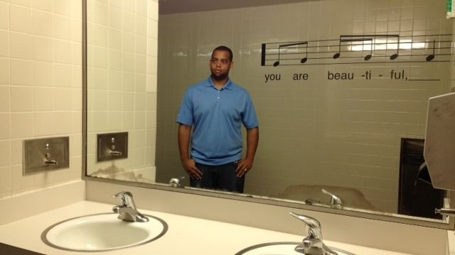 Sean Thrasher created inspirational bathroom art. (Fox Carolina 2014)