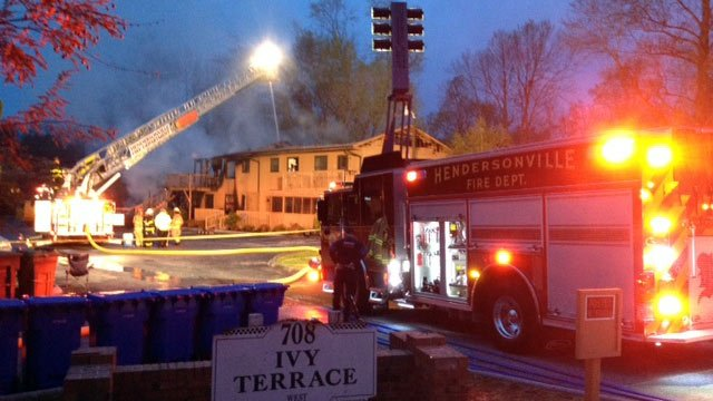 Firefighters knock out the fire in the Hendersonville apartment fire. (April 18, 2014/FOX Carolina)