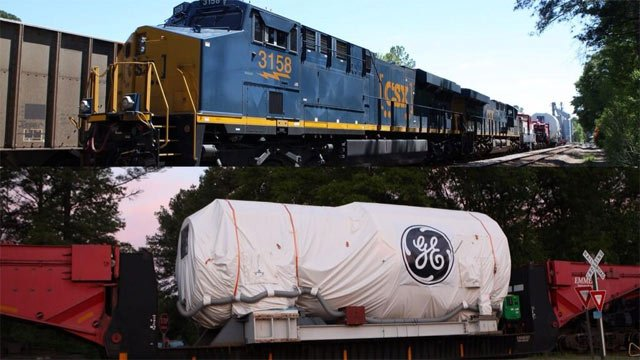 HArriett onboard a CSX train en route to Greenville. (Source: GE Twitter)