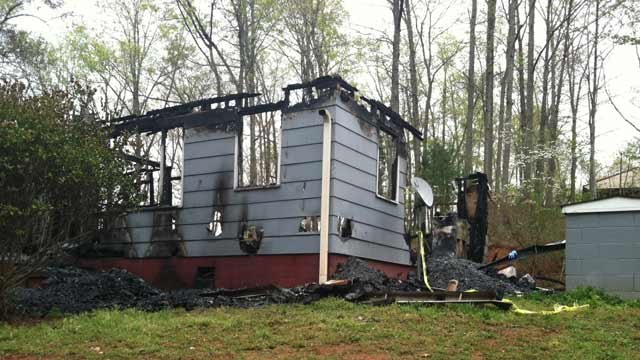 Fire destroyed the home on Huffman Drive on Friday. (April 18, 2014/FOX Carolina)