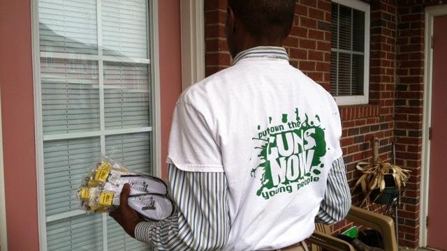 The Upstate group went door-to-door on Friday handing out gunlocks. (April 18, 2014/FOX Carolina)