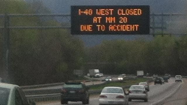 Signs warned drivers of the I-40 closure. (April 21, 2014/FOX Carolina)
