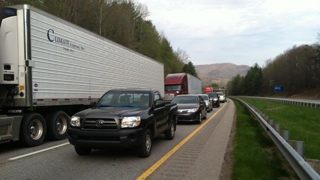 Traffic at mile marker 40 on Monday. (April 21, 2014/FOX Carolina)