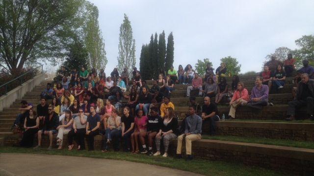 Students gather at USC Upstate protesting funding cuts. (Apr. 21, 2014/FOX Carolina)