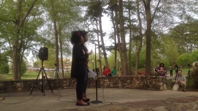 Laketra Cureton (left), and Marniqua Tompkins (right), organizers of SPEAK .(Apr. 21, 2014/FOX Carolina)