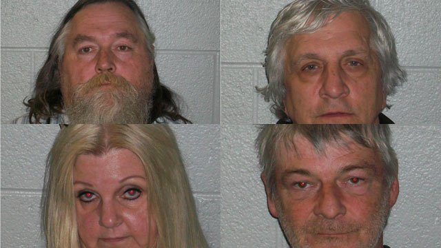 (L to R, top to bottom) Creed Stepp, Nicholas Peterson, Sharon Bridges and Jimmie Franklin. (Source: Henderson Co. Sheriff's Office)