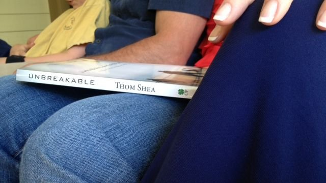 A copy of Thom Shea's memoir set for release in May. (April 23, 2014/FOX Carolina)