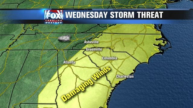 The severe weather threat for Wednesday.