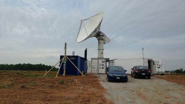 The NASA radar field office set up in Rutherfordton, NC. (April 28, 2014/FOX Carolina)