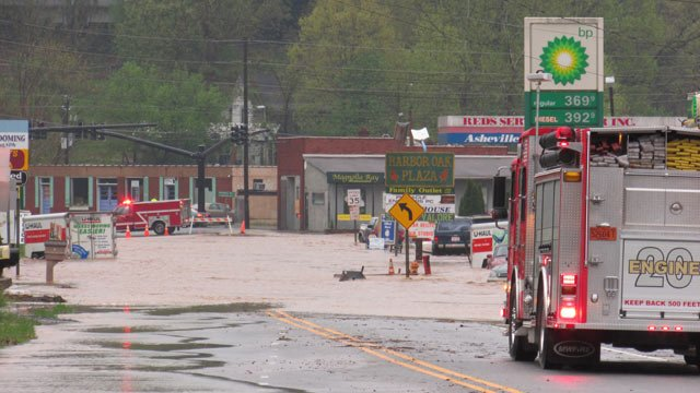 A flooded Weaverville Hwy. in Woodfin. (April 29, 2014/Courtesy American Red Cross)