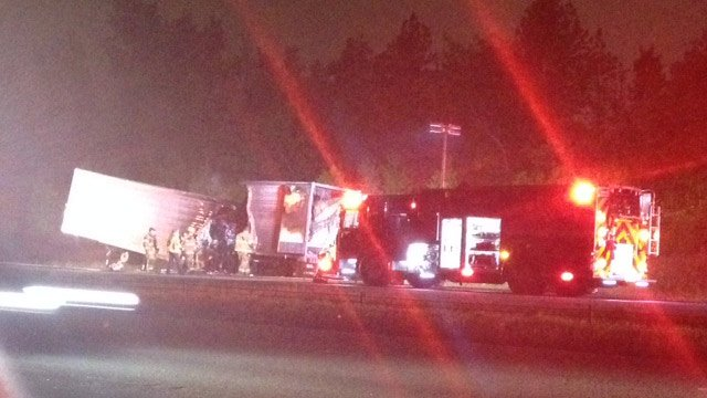 The truck fire closed one lane on Tuesday night. (April 29, 2014/FOX Carolina)