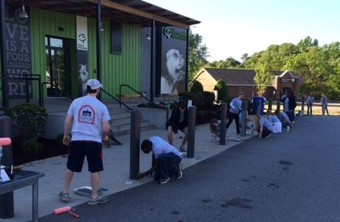 FOX Carolina employees, families & friends at work at the Greenville Humane Society on HOG Day (FOX Carolina)