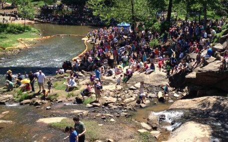 Crowds gather to watch the Duck Derby (FOX Carolina)