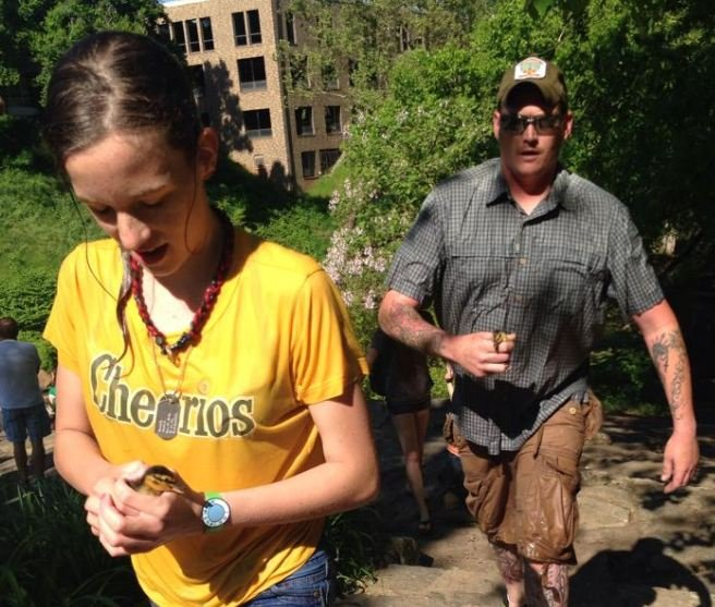 Mary Jade Walton and her father rush baby ducklings to safety (Courtesy: Candie Walton)