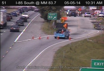Exit 83 is closed at the scene of the crash. (May 5, 2014/SC DOT)
