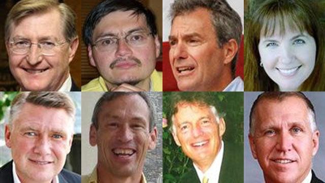 (L to R, Top to Bottom)Ted Alexander, Alex Lee Bradshaw, Greg Brannon, Heather Grant, Mark Harris, Edward Kryn, Jim Snyder and Tom Tillis