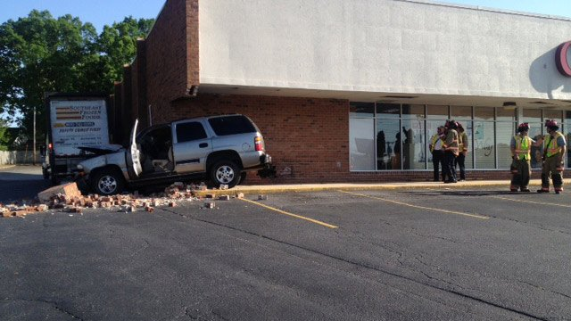 The SUV crashed into the side of the book store. (May 5, 2014/FOX Carolina)