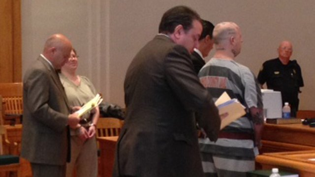 Christine Moody (2nd from left) and Jeremy Moody appear in court. (May 6, 2014/FOX Carolina)