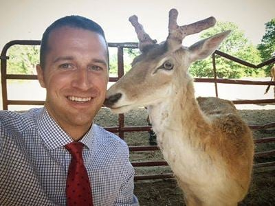 Cody Alcorn and Comet the deer. (May 6, 2014/FOX Carolina)