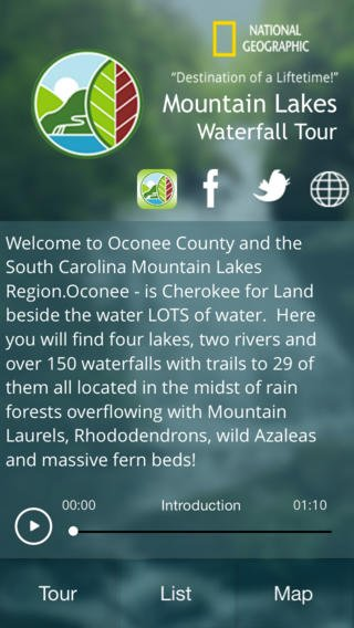 Mountain Lakes Waterfall Tour app is available for iOS and Android devices. (Source: iTunes)