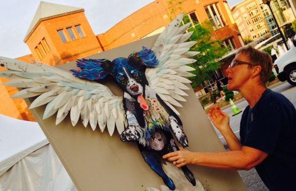 Artists set up displays for Artisphere (FOX Carolina)