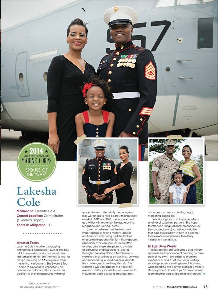 Lakesha Cole honored. (Courtesy: Military Spouse)