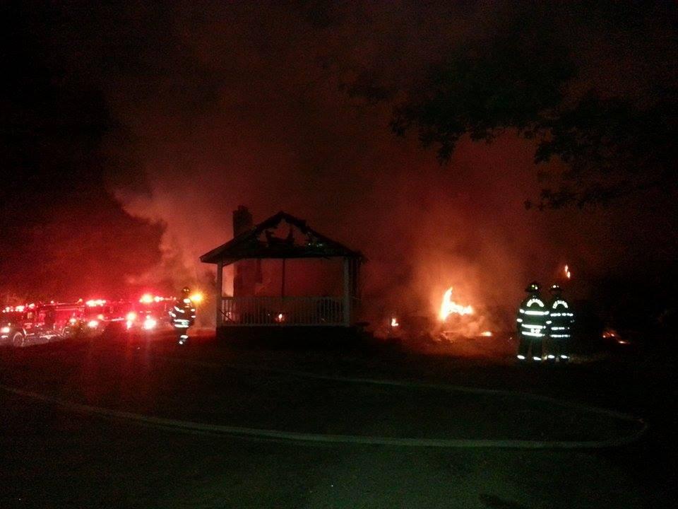 Firefighters battle blaze in Honea Path (Courtesy: Meg Massengill)
