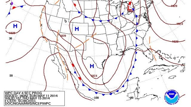 Thursday Morning Surface Map