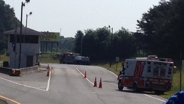 The weigh station is closed as crews work to clean up the acid leak. (May 12, 2014/FOX Carolina)