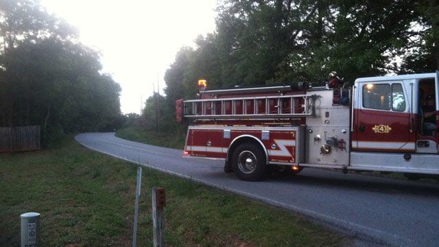 Hanging Rock Road was shut down on Monday night following the wreck. (May 12, 2014/FOX Carolina)