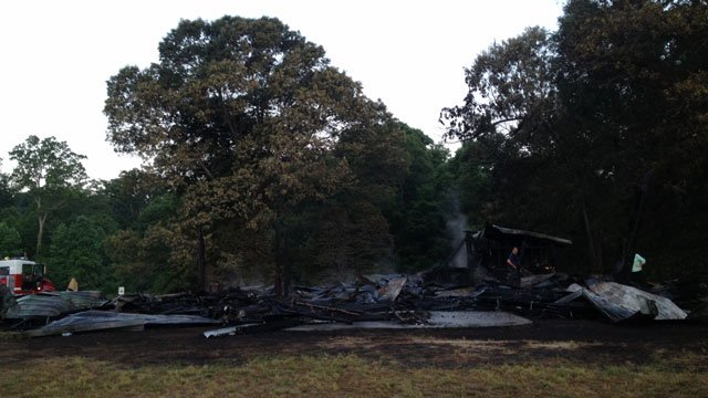 The fire-destroyed barn in Fountain Inn. (May 13, 2014/FOX Carolina)