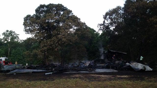 The fire-destroyed barn in Fountain Inn. (May 13, 2014/FOX Carolina)