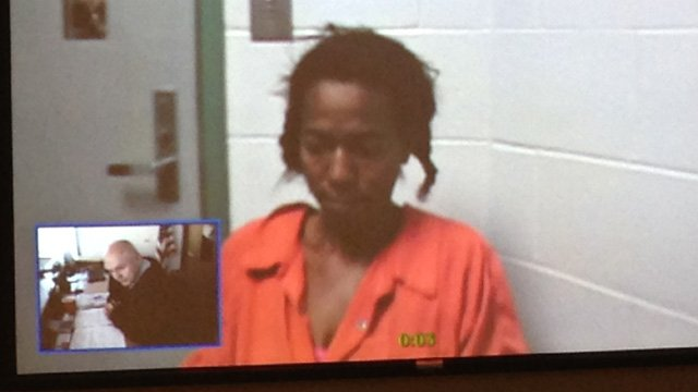 Leslie Littlejohn appears in court on video for her bond hearing. (May 14, 2014/FOX Carolina)