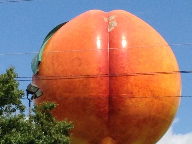 Chunks of paint are missing from the iconic Peachoid in Gaffney. (May 14, 2014/FOX Carolina)