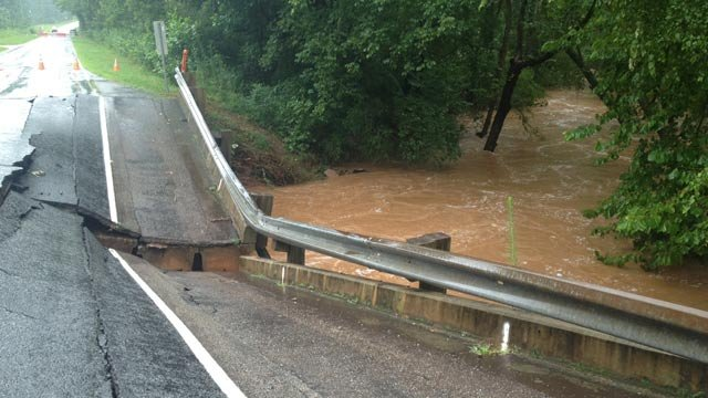 The collapsed bridge along Six Mile Creek. (Aug. 7, 2013/FOX Carolina)