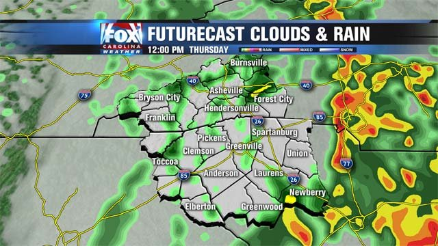 The futurecast for rain showers through noon Thursday.