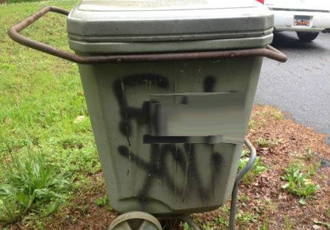 Vandalized trash can on Seminole Drive (FOX Carolina)
