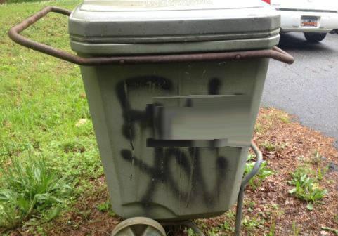 Vandalized trash can on Seminole Drive (FOX Carolina)