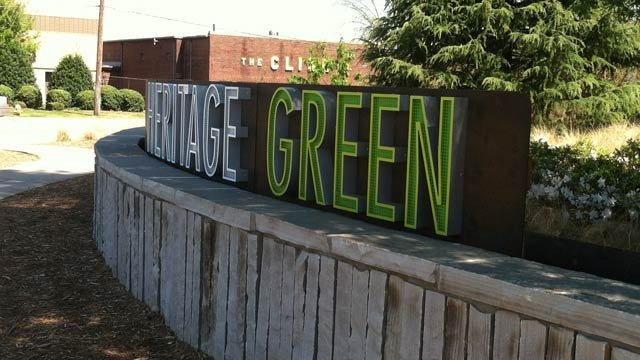 The Heritage Green sign in front of the library. (Source: Greenville Police Dept.)