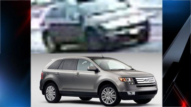Top: Surveillance photo of SUV police are looking for. Bottom: Factory photo of Ford Edge. (Source: Toccoa Police Dept.)