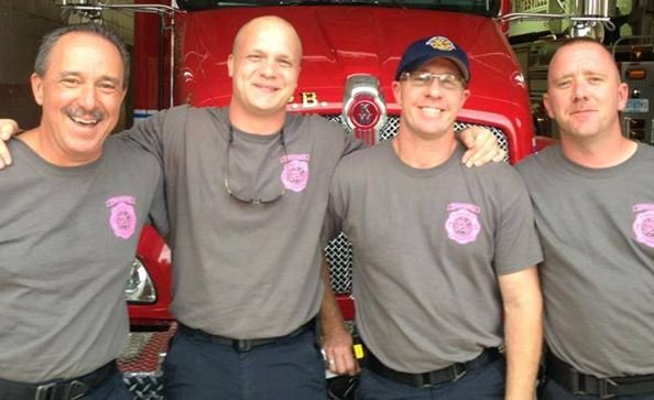 Patrick Schultz (second from left) with fellow firefighters (Courtesy: Pelham-Batesville Fire Dept.)