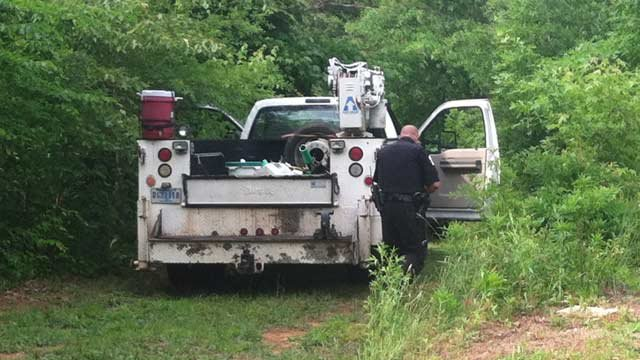 The truck was found around 5 p.m. near River Road and Sir Lancelot Drive in Piedmont. (May 27, 2014/FOX Carolina)