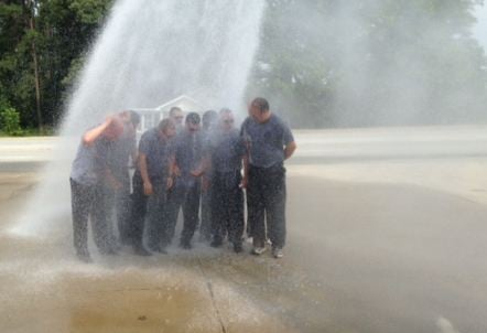 Firefighters endure the cold water challenge (FOX Carolina)