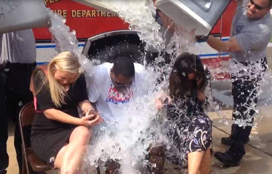 Ashley Daley, Ted Phaeton, and Lauren Elise get doused (FOX Carolina)