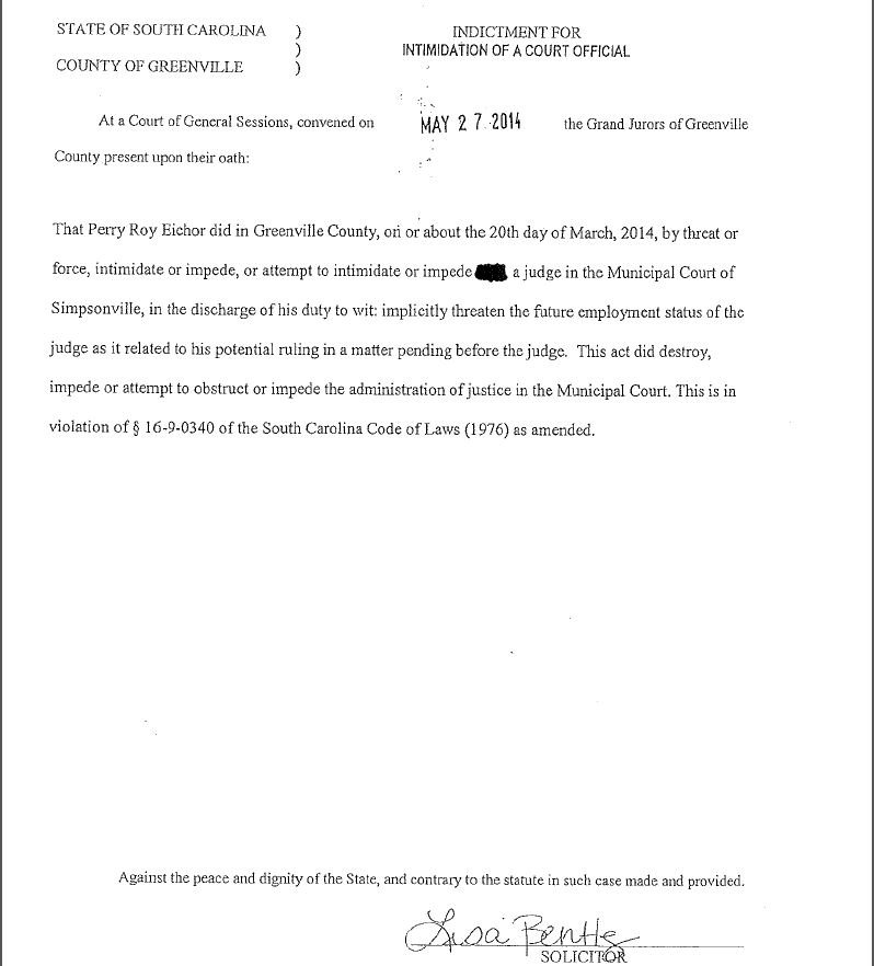 Page 1 of the indictment against Eichor (Courtesy: solicitor's office)