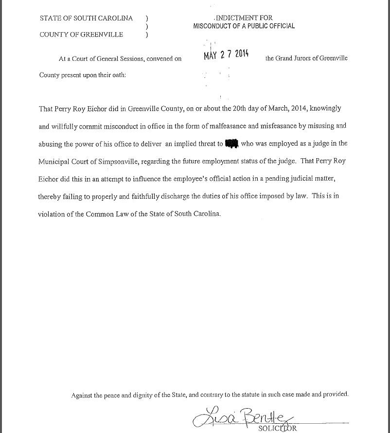Page 2 of the indictment against Eichor (Courtesy: solicitor's office)