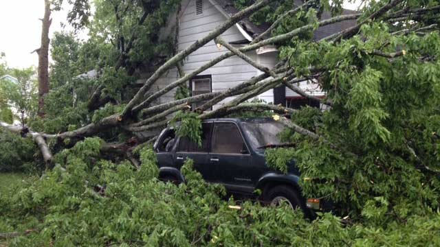 A tree fell during the storm and hit a parked SUV in Greenville County on Thursday. (May 29, 2014/FOX Carolina)