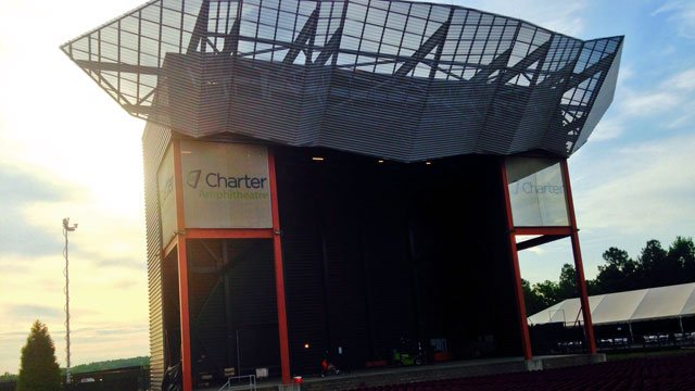 The Charter Amphitheatre is readied for Friday night's concert. (May 30 2014.FOX Carolina)
