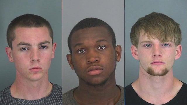 Left to right: Chase Burt, Douglas Jones and Timothy Tatham. (Source: Spartanburg Co. Detention Center)