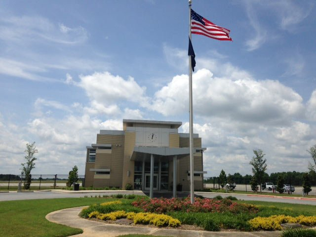 New flags fly in front of the airport. (May 30, 2014/FOX Carolina)
